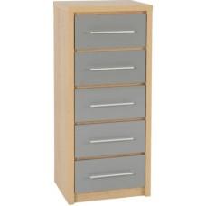 Seville 5 drawer narrow chest