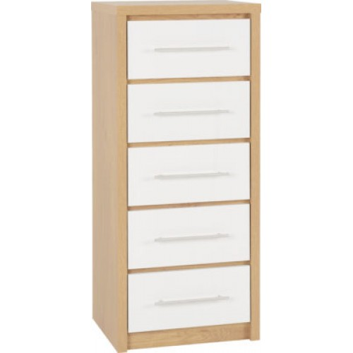 Seville 5 Drawer Narrow Chest Dial A, White Gloss Bedroom Furniture Nz